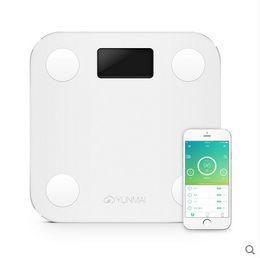 Beyaz Mini Akıllı YUNMAI Ölçekler Ev Prim Destek Bluetooth APP Yağ Yüzdesi Dijital Vücut Yağ Tartı Sıcak Satış + B indirimde