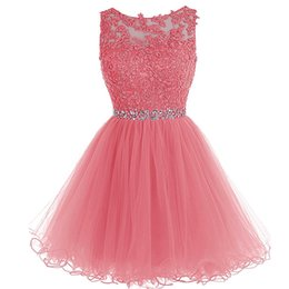 Discount fuchsia black girl dress - Wholesale Crystal Appliques Short Homecoming Dresses Sheer Jewel Neck Keyhole Back A Line Cocktail Party Gowns For Girls