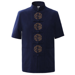 синий пояс оптовых-Summer Navy Blue Men s Cotton Embroidery Dragon Shirt tops Vintage Chinese Short Sleeve Shirt Tang Suit Size M XXXL