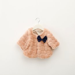 Girl poncho kids online shopping - Winter Child Clothing Baby kids Fur Shawl Girl Winter Fashion Outfits Bow Thick Cloak p l