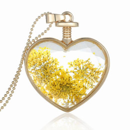 glasses golden chain UK - New fashion Pendants heart crystal necklace alloy Love golden yellow flower phase box pendant locket crystal glass pendant necklace