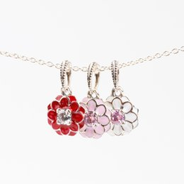 Authentic Flowers Australia - Blooming Dahlia Charm Pendants Authentic 925 Sterling Silver Jewelry Enamel Flower Beads Fits DIY Brand Logo Bracelets Making Accessories
