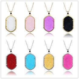 Gold Acrylic Pendants NZ - Fashion Geometry Necklace For Women Elisa Gold Silver Plated Acrylic Amethyst fluorescence Stone Pendant Necklaces