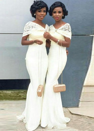 ivory bridesmaid wrap NZ - 2019 Elegant African Black Girl White Mermaid Long Bridesmaid Dresses with Lace Wraps Floor Length Maid of Honor Gowns Wedding Guest Dresses