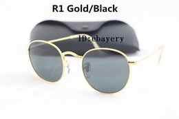 $enCountryForm.capitalKeyWord Canada - 1pcs Mens Womens Round Sunglasses Eyewear Sun Glasses Designer Brand Gold Metal Frame Black 50mm Glass Lenses With Better Quality Cases