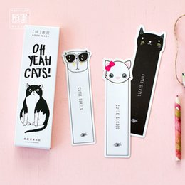 cat bookmarks Canada - 6 Set Lot Kawaii Cat Bookmark Cartoon Page Marks Stationery Office Accessories School Supplies Marcapaginas De Papel