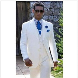2017 New Beach Linen White Wedding Suits Casual Notched Lapel Groom Tuxedo Men Slim Fit Free Shipping Q 031
