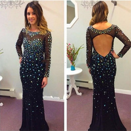 S'habille Pas Cher-Livraison gratuite Elegant Mermaid Black Robes de soirée Long Sleeve Chiffon Crystal Beading Backless Sweep Train Sparkly Dresses