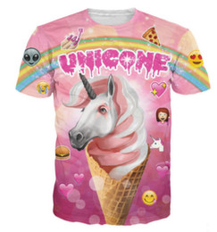 $enCountryForm.capitalKeyWord Canada - Unicone New Popular Womens Mens The Rare Ice Cream Unicorn Emojis Rainbow Pizza Short Sleeves 3D Print T-shirt Casual T-shirt S-5XLKK47
