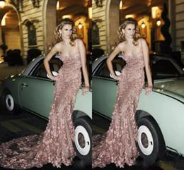 Long evening pepLum dresses back drape online shopping - Luxury Zuhair Murad Lace Prom Dresses D Floral Applique Evening Gowns Mermaid Spaghetti Straps Beads Long Plus Size Prom Dress