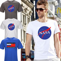 Barato Estilo Das Camisas Da Forma Dos Homens-Top Quality Nasa Fashion T Shirt New Summer Style Printed Cotton Men T-shirt Vestuário espacial Tops Tees T01 Camisetas para homens para