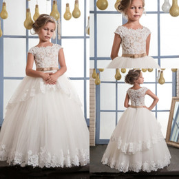 images wedding dress sashes belts 2019 - 2017 Glitz Flower Girls Dresses Boat Neck A Line Lace Appliqued With Ribbon Belt Layers Skirts Long Kids Birthday Baby F