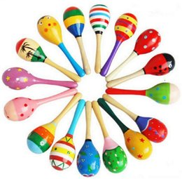 $enCountryForm.capitalKeyWord Australia - 120pcs lot 2015 0-12 month baby New Wooden Maraca Orff Rattles Kid Musical Party Favor Child Baby Shaker Toy