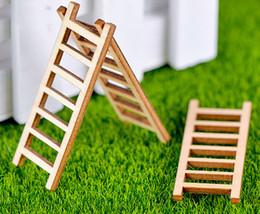 10pcs scala legnosa scalinata corridoio Scaletta Bonsai Strumenti Fata Decorazione del giardino Miniature resina Terrario Figurine Jardin in Offerta