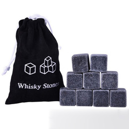 Hot ice cubes online shopping - Hot Sale Natural Whiskey Stones set Whisky Stones Cooler Whisky Rock Soapstone Ice Cube With Velvet Storage Pouch Package Favor Bar