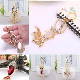 girls horse clothes UK - Crystal Pendent Fox Horse Fish Eiffel Tower Bear Clothing Accessories Handbag Decoration Sparkling Keyrings 9 Style C150Q