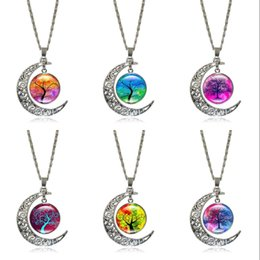 $enCountryForm.capitalKeyWord Canada - 11 Vintage Style Necklace With Silver Moon Time Necklace Antique Crescent Pendant Outer Space Universe Jewelry With The Tree Of Life C187S