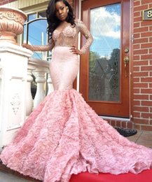 $enCountryForm.capitalKeyWord NZ - 2017 Luxury Pink 2K17 Prom Dresses Sexy Illusion Bodices Open Back Long Sleeve Potel Flowers Sparkle Evening Dresses Vestidos de Fiesta