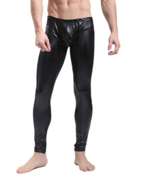 Polainas Atractivas Del Clubwear Baratos-Negro / Rojo Hombres Faux Leather Skinny Pencil Pantalones Stretch Leggings Pantalones Sexy Pole Dance Stage Clubwear