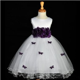 $enCountryForm.capitalKeyWord Canada - White and Purple Long Flower Girl Dresses Floor Length Flower Butterfly Tulle Ball Gown Princess Kids Party Gowns Custom Made Hot Sales F50