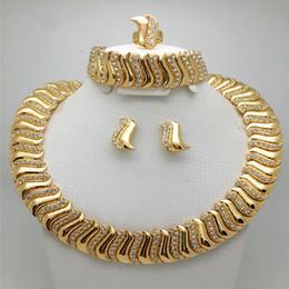 Jade Wedding Sets Australia - Fashion African Beads Jewelry Set Exquisite Carved Dubai gold-color Jewelry Set Nigerian Wedding Bridal Bijoux