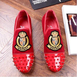 Discount pointy black dress shoes men - Promotion New spring brand free shipping Fashion Mens Punk Studded Rivet Spike Suede Pointy Loafers Casual Dress Shoes A