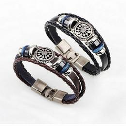 $enCountryForm.capitalKeyWord Canada - Antique leather rope, sunflower and wood bead Black Stone Bracelet