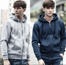 5f2ce58e Men Zipper Hoodies Solid Plain Blank Pockets Sweatshirt Full Zip Long  Sleeve Casual Coat Winter Sweatshirts Pullovers Slim Coats OOA3226
