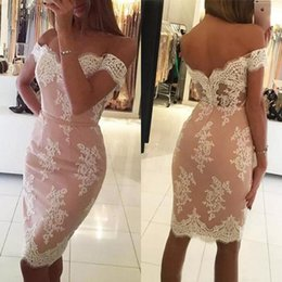 $enCountryForm.capitalKeyWord Australia - 2017 Sexy Off The Shoulder Short Sheath Cocktail Dresses Cheap Pink Lining Ivory Lace Knee Length Dresses Party Evening Custom Made EN10235
