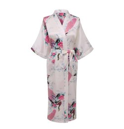 Wholesale- White Sexy Chinese Women Silk Rayon Robe Wedding Bridesmaid Sleepwear  V-Neck Kimono Bath Gown Mujer Pajama Plus Size XXXL WR017 e81dc4bcb
