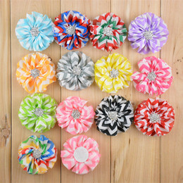 flower girl rhinestone hair clips Australia - Free Shipping 30pcs lot New korean style Handmade cute chiffon flowers with Rhinestones without clips girls headbands hair accessories H009