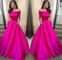 China 2017 Off Shoulder Fuchsia Prom Dress Long A Line Night Gown New Arrival Custom Made Party Dresses Evening Wear with Pocket cheap night dress dark purple suppliers