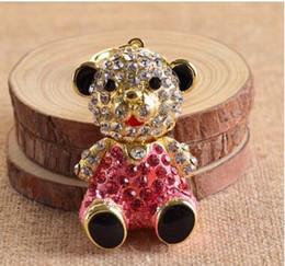 $enCountryForm.capitalKeyWord Canada - New Creative Gift Couple Bear Car Keychain Crystal Bag Pendant Key ring Key chains Christmas Gift Jewelry Zinc Alloy