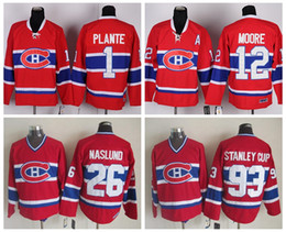 Hockey 12 Dominic Moore Jersey Men Montreal Canadiens 93 Stanley Cup 26  Mats Naslund 1 Jacques Plante Vintage Classic Red White