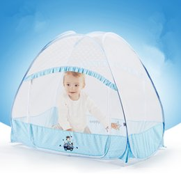 Barato Rede De Berço-Atacado - Blue Pink Full-around Baby Mosquito Nets Prevenir Insect Wasps Moscas Mosquitos Net para Baby Cot Canopy Outdoor Kid Camping Tent