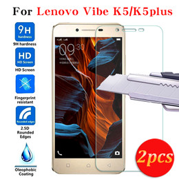 tempered screen protector lenovo 2019 - Wholesale- 2pcs Tempered Glass 0.3mm 2.5D For Lenovo vibe k5 k5plus a6020 5inch 9H Hard Transparent Screen Protector Wit