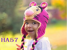 crochet tiger hat Australia - Tiger Crochet Pattern Hat Baby Boy Girl Winter Christmas Caps Newborn Infant Toddler Children Animal Beanie Earflaps 100% Cotton Photo Props