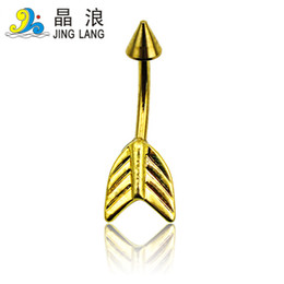 $enCountryForm.capitalKeyWord Canada - Popular! Top Selling High Quality Fashion Golden Plated Arrow Surgical Steel Belly Button Ring For Women Body Jewelry