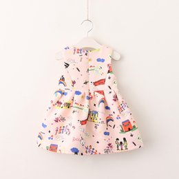 Robe Imprimée Graffiti Pas Cher-Everweekend Kids Girls Print Rainbow Graffiti sans manches Sweet Baby princesse Party Suspender Robe New Autumn Dress Clothing