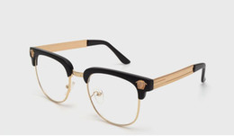 Wholesale NEW brand black&gold mens semi rimless eyeglasses frames UV metal half frame clear lens glasses optical free shipping