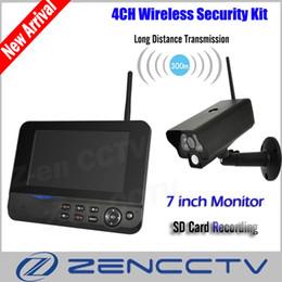 Surveillance Security System Canada - Digital Wireless CCTV Camera Kit 7 inch Monitor PIR Home Security SD Card Recording IR Night Vision 2.4Ghz Surveillance System