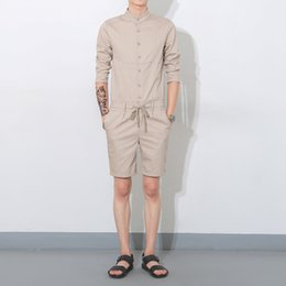 China Wholesale-Summer 2016 new men one piece rompers shorts men fashion casual short sleeve tees shirt Jumpsuits shorts overalls K988 supplier men s jumpsuits suppliers