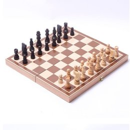 Free Entertainment Games NZ - Fashion New Funny Folding Folable Wooden International Chess Set Board Game Funny Game Sports Entertainment hot sale free shipping