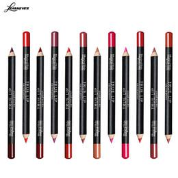 Pencil Blending Tool Canada - Wholesale- 12PCS Professional Lipliner pencil Waterproof wooden blend Lip Liner Pencil 12 Colors Per Set makeup lipstick tool M02696