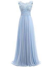 Vente en gros Robe de bal bleue Cap Sleeve 2017 Robe Ceremonie Femme Robes de soirée longues et élégantes Longueur de plancher Robes de soirée