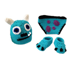 crochet baby animal outfits UK - Crochet Sully Monster Outfit,Handmade Knit Baby Boy Girl Animal Hat,Diaper Cover,Shoes Set,Kids Halloween Costume,Infant Newborn Photo Prop