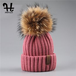 $enCountryForm.capitalKeyWord Canada - Furtalk Real Unisex Kids Ages 4 -12 Raccoon Fur Ball Winter Hat Knitted Pom Pom Cap Kids Beanie Hat