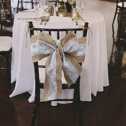 Burlap Chairs Canada - 240 x 15cm Lace Bowknot Burlap Chair Sashes Natural Hessian Jute Linen Rustic Chair Cover Tie Bowknot for Wedding Chair Decor DIY Crafts