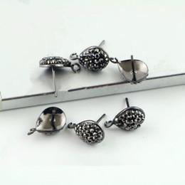 Crystal Stud Metal Australia - Wholesale 10Pair Metal black Plated Stud Earrings, Pave Crystal Rhinestone Stud Earring, Jewelry Earring