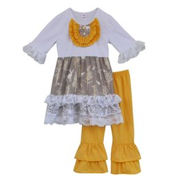 Stock Clothes Winter UK - Wholesale- Special Design Fall Winter Girls Boutique Outfits Lace Ruffle Top Cotton Pant Wholesale Children Baby Clothes F004 In Stock
